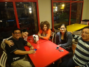 Out to dinner  with Arturo, Katyuska, Arturo's niece, and his father