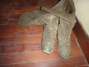 Elena's Boots after her 10 mile trip