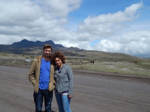 At the foot of Cotopaxi, with another mountain in the background
